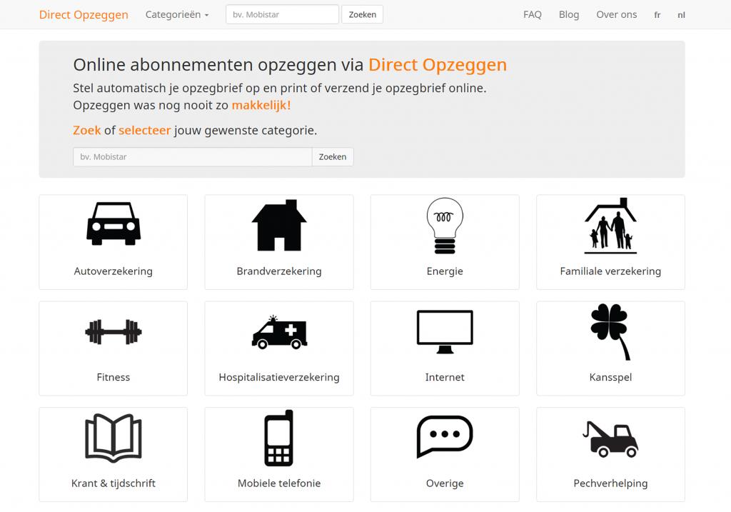 Homepage directopzeggen.be